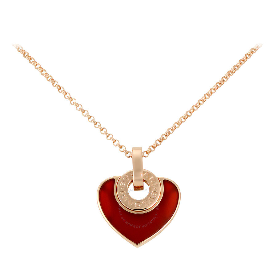 bvlgari bvlgari 18k pink gold carnelian cuore pendant necklace