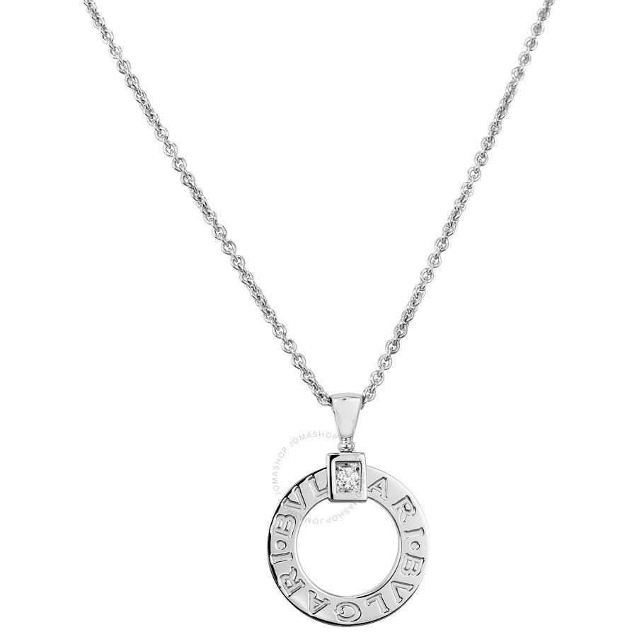 bvlgari 18k white gold diamond pendant