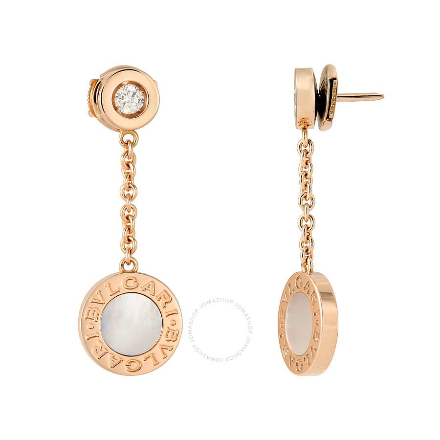 Bvlgari 18k Pink Gold Mother Of Pearl Diamond Earrings