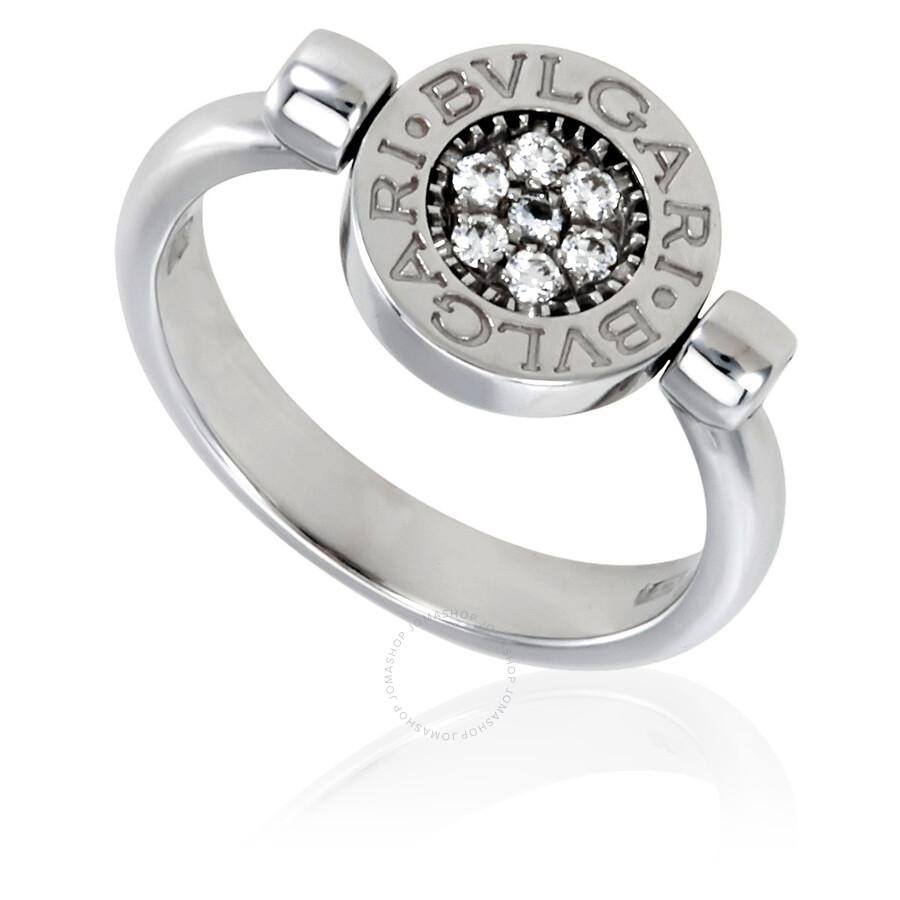 bvlgari bvlgari 18k white gold diamond pave onyx ring size 775