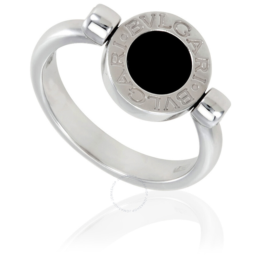 Bvlgari Bvlgari 18K White Gold Diamond Pave Onyx Ring Size 775
