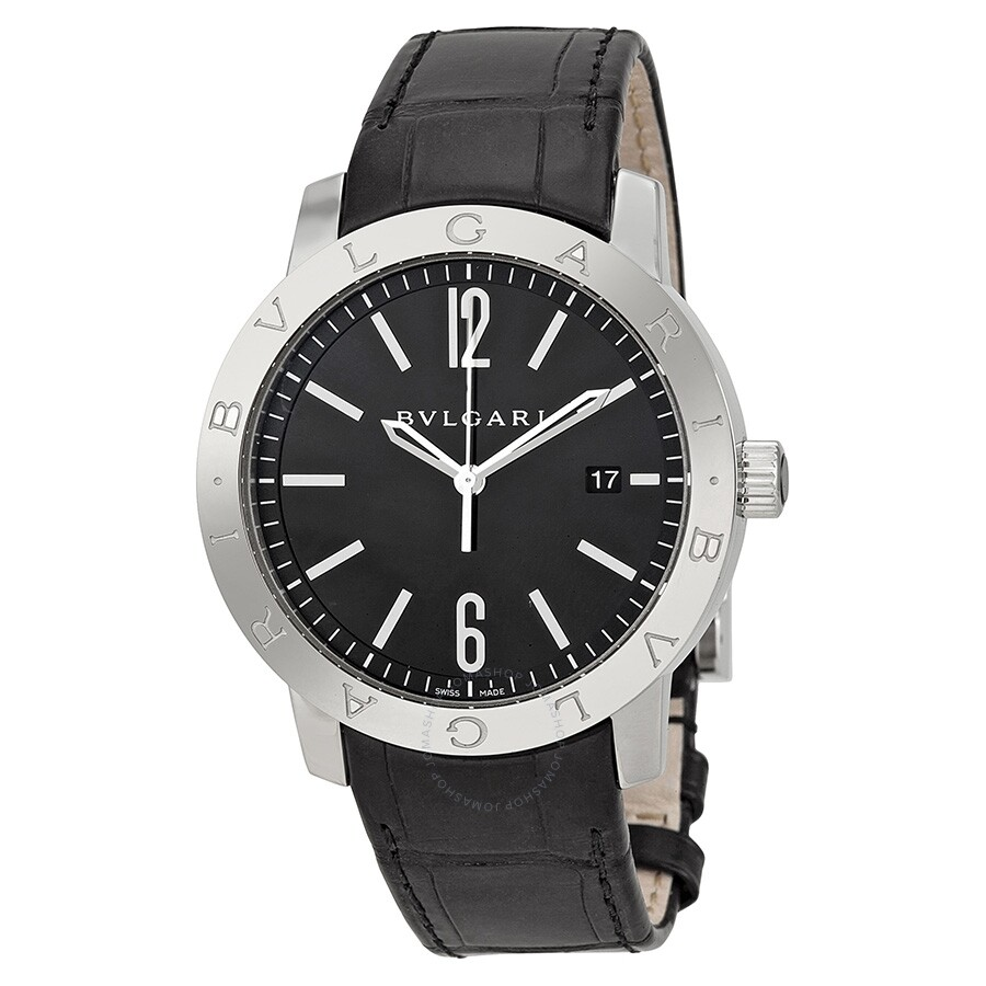 Bvlgari bvlgari automatic black dial black leather men 39 s watch bb41bsld bvlgari bvlgari for Bvlgari watches