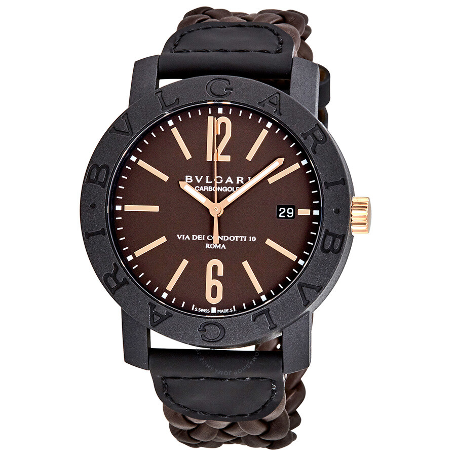 Bvlgari bvlgari automatic brown dial brown leather men 39 s watch 102633 bvlgari bvlgari for Bvlgari watches