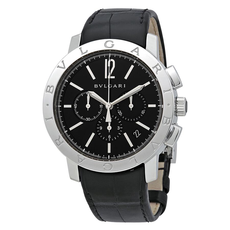 Bvlgari bvlgari black dial black alligator leather strap chronograph men 39 s watch 102043 for Bvlgari watches