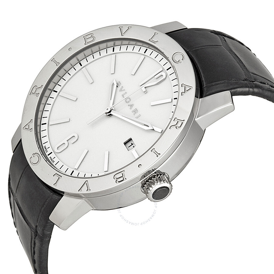 bvlgari bvlgari automatic white dial black leather menu0027s watch bb41wsld