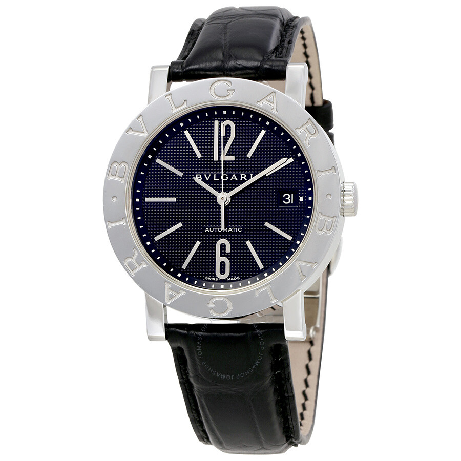 Bvlgari bvlgari black dial leather men 39 s watch 101368 bvlgari bvlgari bvlgari watches for Bvlgari watches