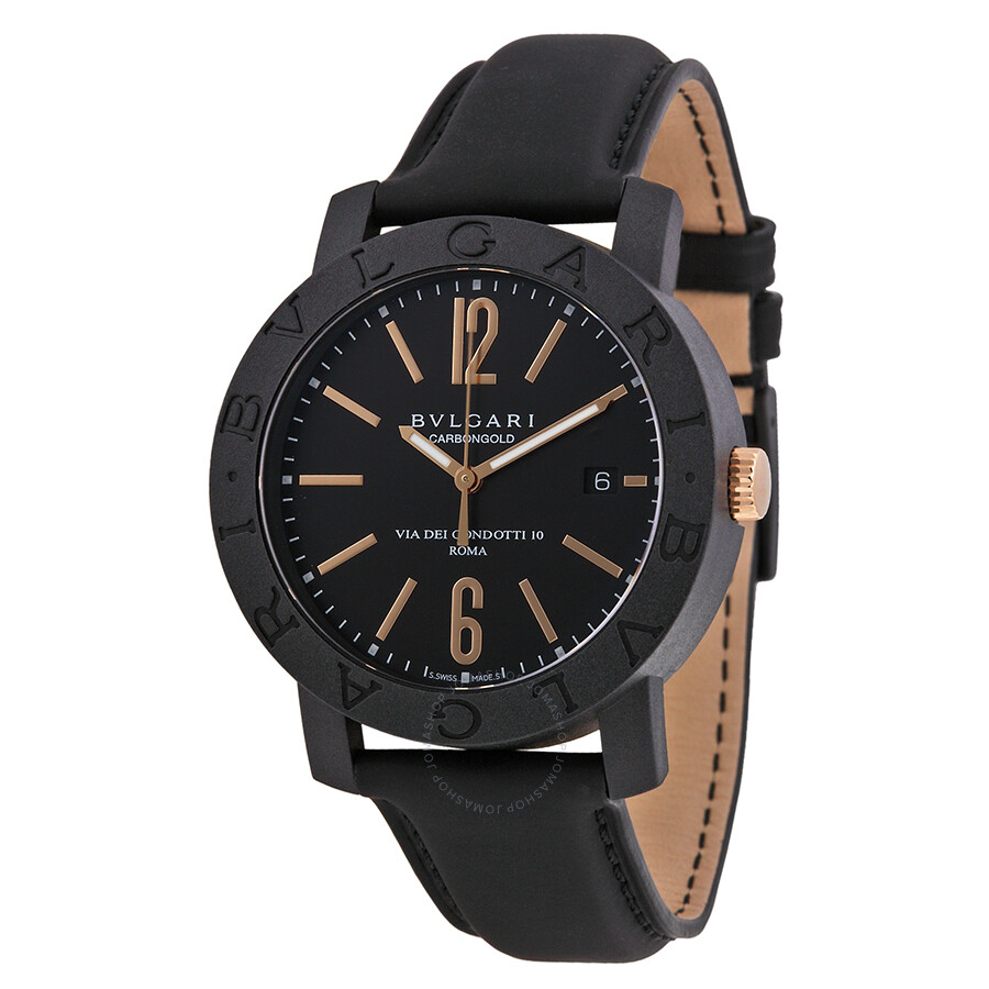 Bvlgari bvlgari black dial leather strap automatic men 39 s watch bbp40bcgld bvlgari bvlgari for Bvlgari watches