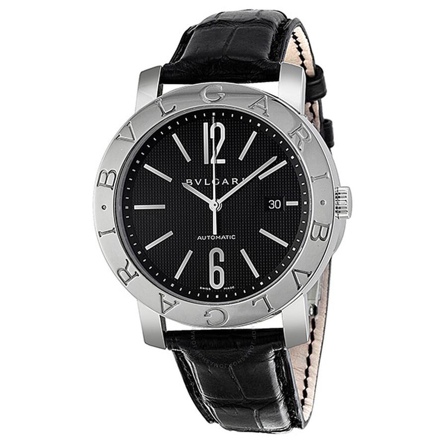 Bvlgari bvlgari black dial stainless steel black leather men 39 s watch 101380 bvlgari bvlgari for Bvlgari watches