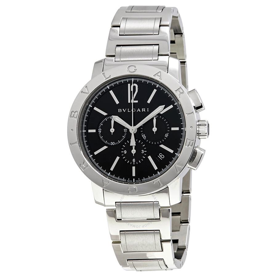 Bvlgari bvlgari black dial stainless steel chronograph men 39 s watch 102045 bvlgari bvlgari for Bvlgari watches