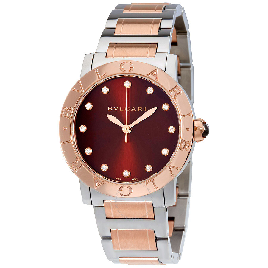 Bvlgari bvlgari brown lacquered diamond dial stainless steel 18k pink gold 33mm ladies watch for Bvlgari watches