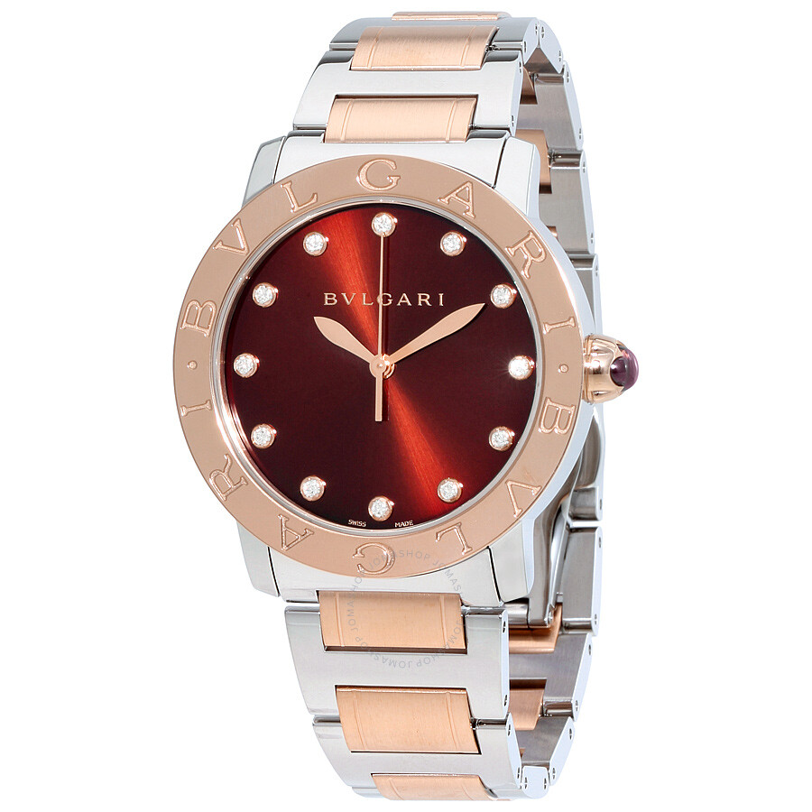 Bvlgari bvlgari brown lacquered diamond dial stainless steel 18k pink gold 37mm ladies watch for Bvlgari watches