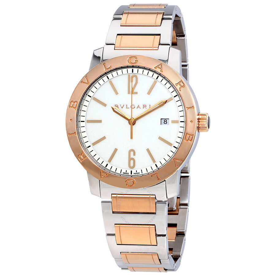 Bvlgari bvlgari off white dial stainless steel 18kt pink gold automatic men 39 s watch 102053 for Bvlgari watches