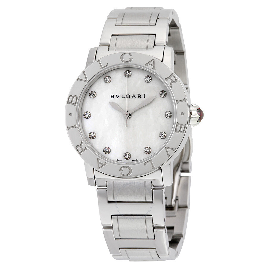 Bvlgari bvlgari white mother of pearl diamond dial ladies watch 101888 bvlgari bvlgari for Bvlgari watches