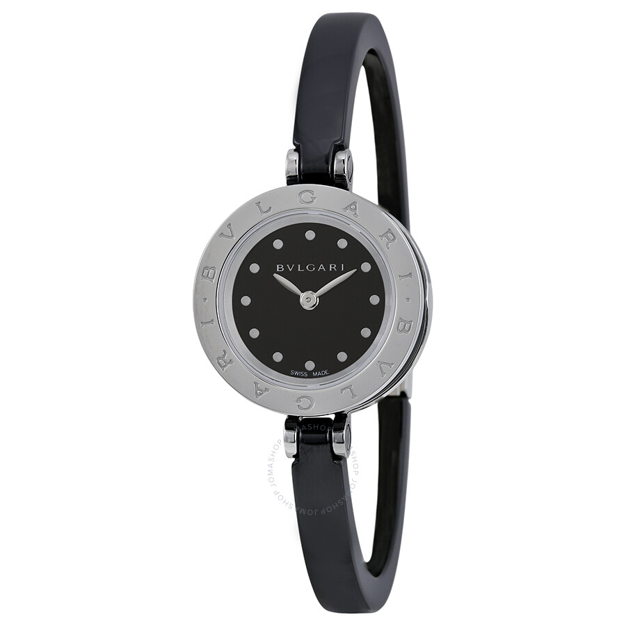 Bvlgari black dial black ceramic bangle ladies watch 102085 b zero1 bvlgari shop for Ladies bangle watch