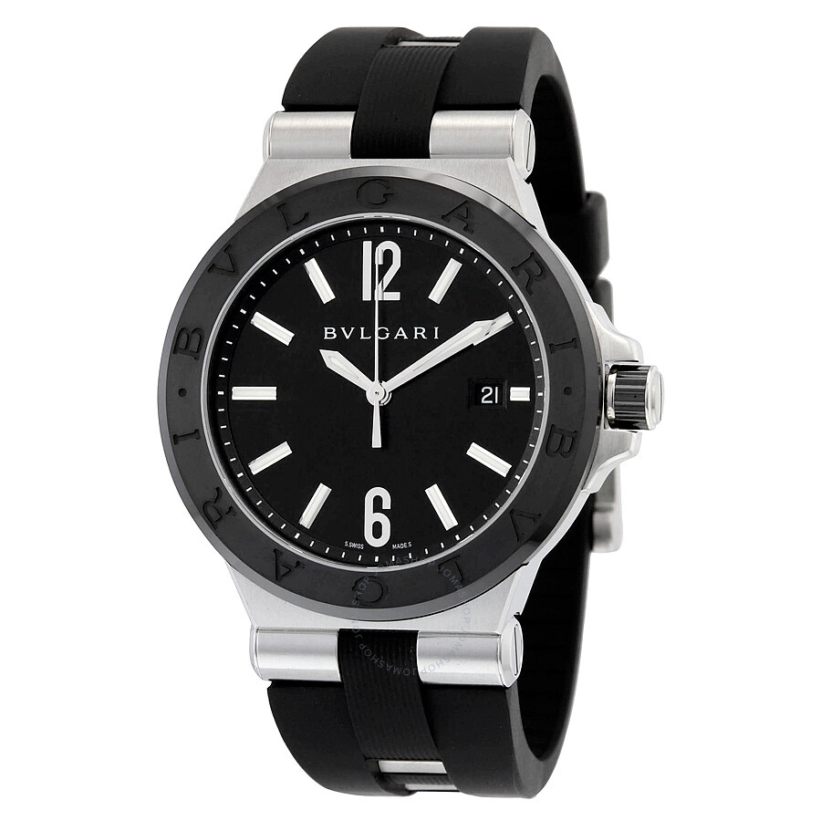 Bvlgari diagono automatic black dial men 39 s watch 102029 diagono bvlgari watches jomashop for Bvlgari watches