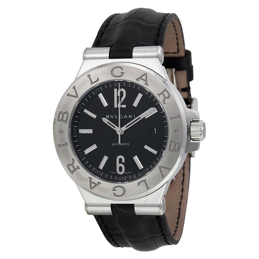 Bvlgari Diagono Black Dial Black Leather Men's Watch 101621