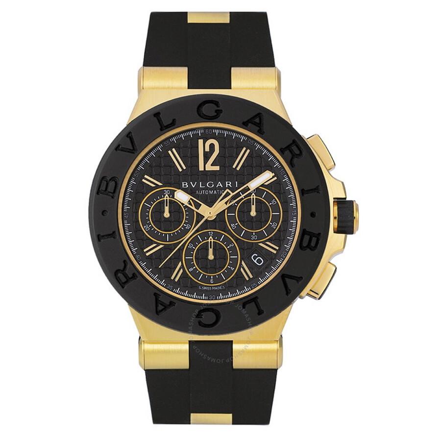 2f33e3abeec Bvlgari Diagono Black Dial Chronograph 18kt Yellow Gold Rubber Men s Watch  Item No. DG42BGVDCH