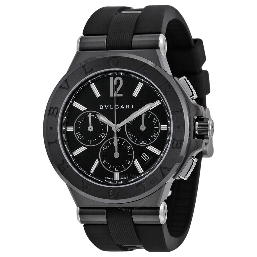 size 40 41f0f 9a86d Bvlgari Diagono Black Dial Chronograph Black Rubber Men's Watch DG42BBSCVDCH
