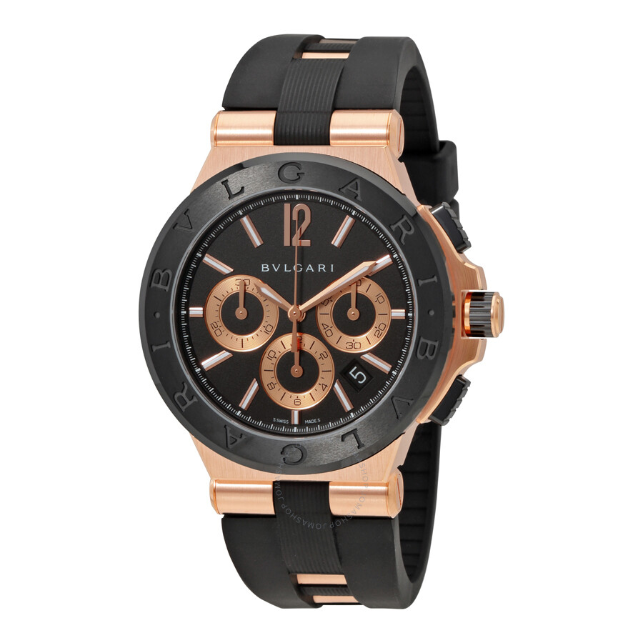 Bvlgari diagono black dial chronograph men 39 s watch 101987 diagono bvlgari watches jomashop for Bvlgari watches