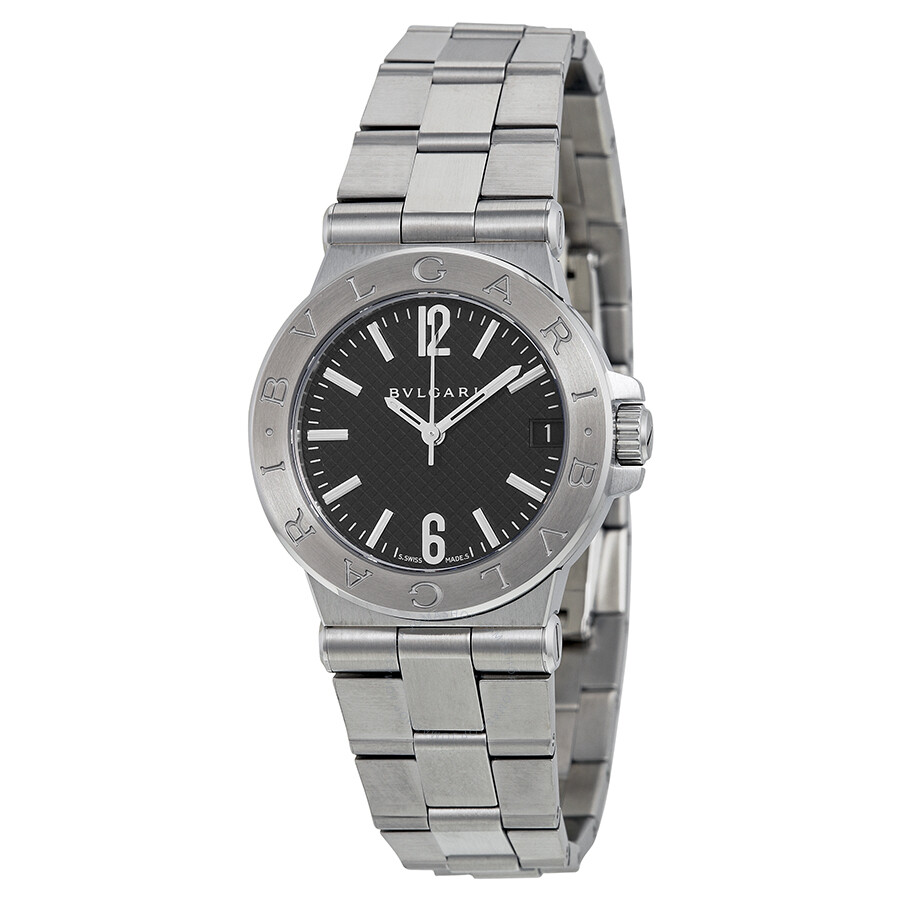 Bvlgari diagono black dial stainless steel ladies watch dg29bssd diagono bvlgari watches for Bvlgari watches