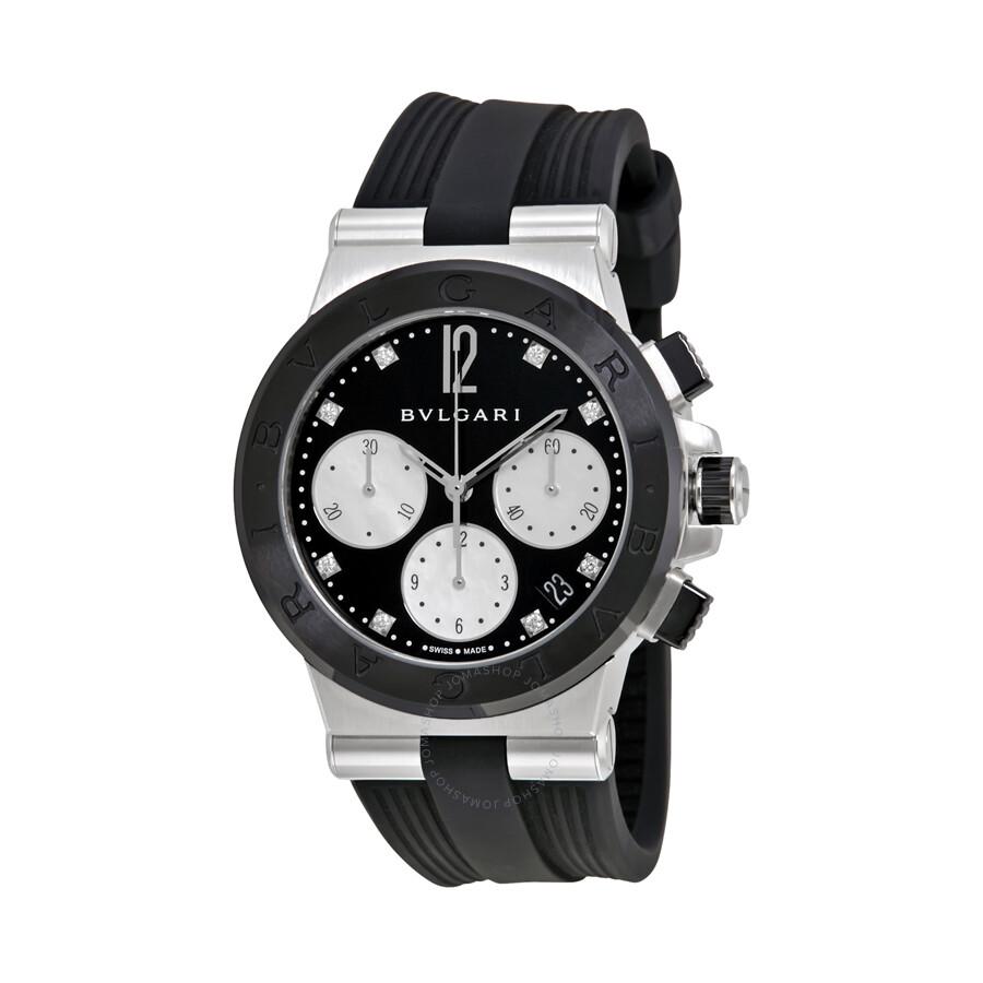 Bvlgari replica watches - Bvlgari Replica Watches Bvlgari Diagono Black Lacquered Diamond Dial Chronograph Ladies Watch