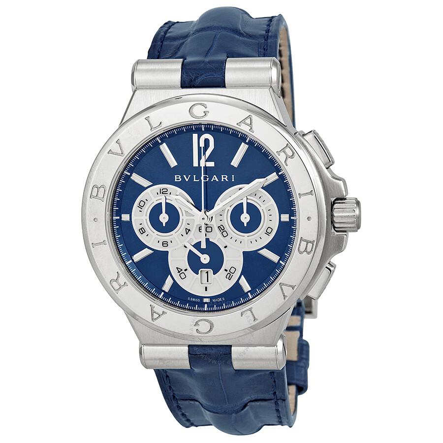 Bvlgari Diagono Blue Dial Blue Alligator Leather Men's Watch
