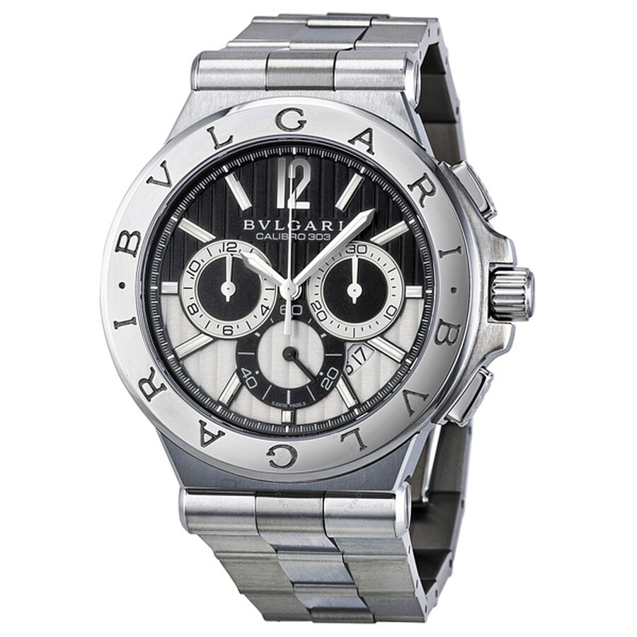 Bvlgari diagono chronograph automatic black and silver dial men 39 s watch 101880 diagono for Bvlgari watches