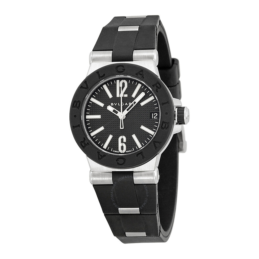 bvlgari diagono quartz black black rubber