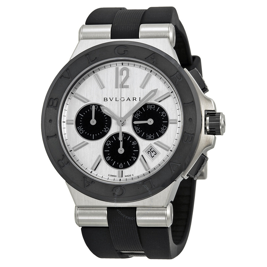 Bvlgari diagono silver dial black rubber men 39 s watch dg42c6scvdch diagono bvlgari watches for Bvlgari watches