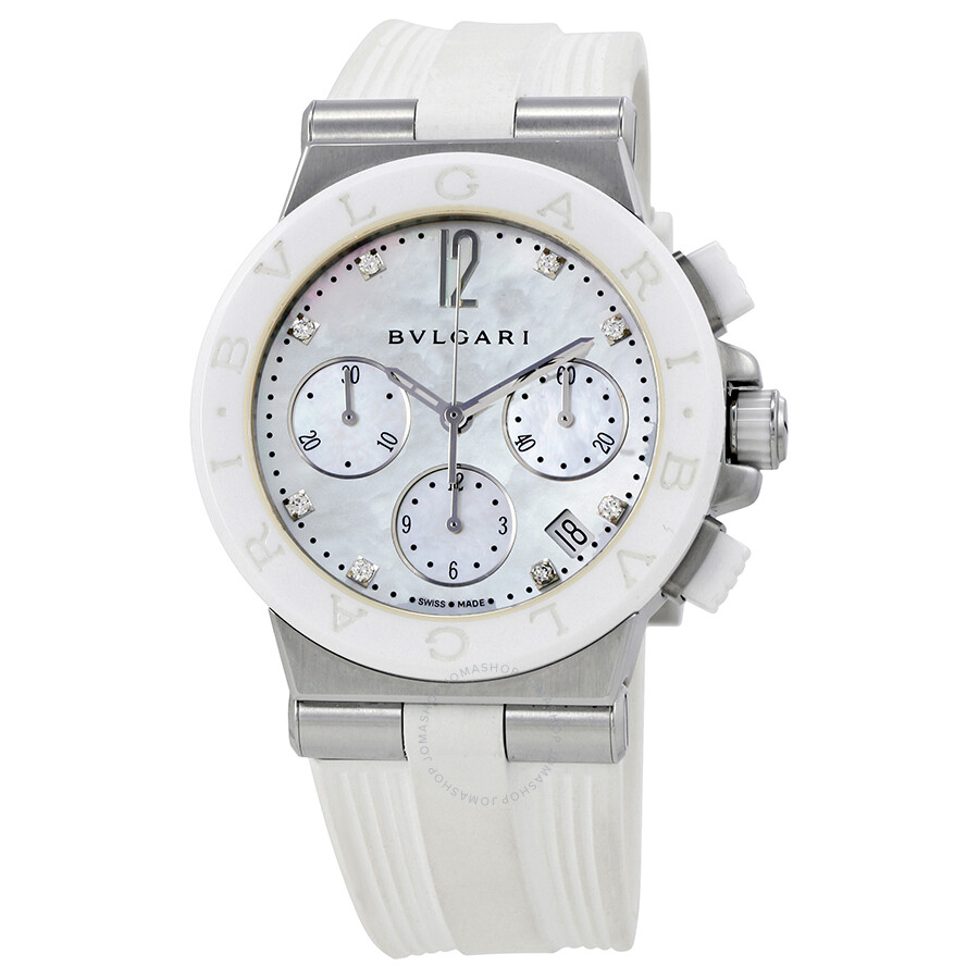 Bvlgari diagono white mother of pearl diamond dial chronograph ladies watch 101993 diagono for Bvlgari watches