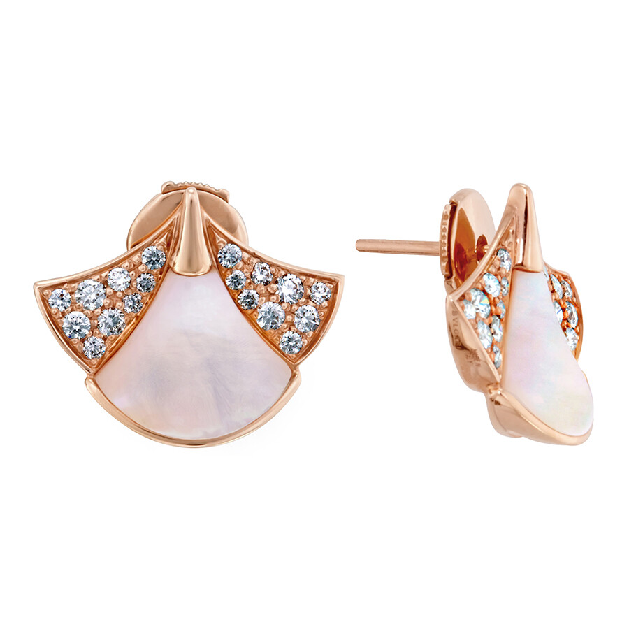 Bvlgari Divas Dream 18k Pink Gold Mother Of Pearl Diamond Earrings 350483