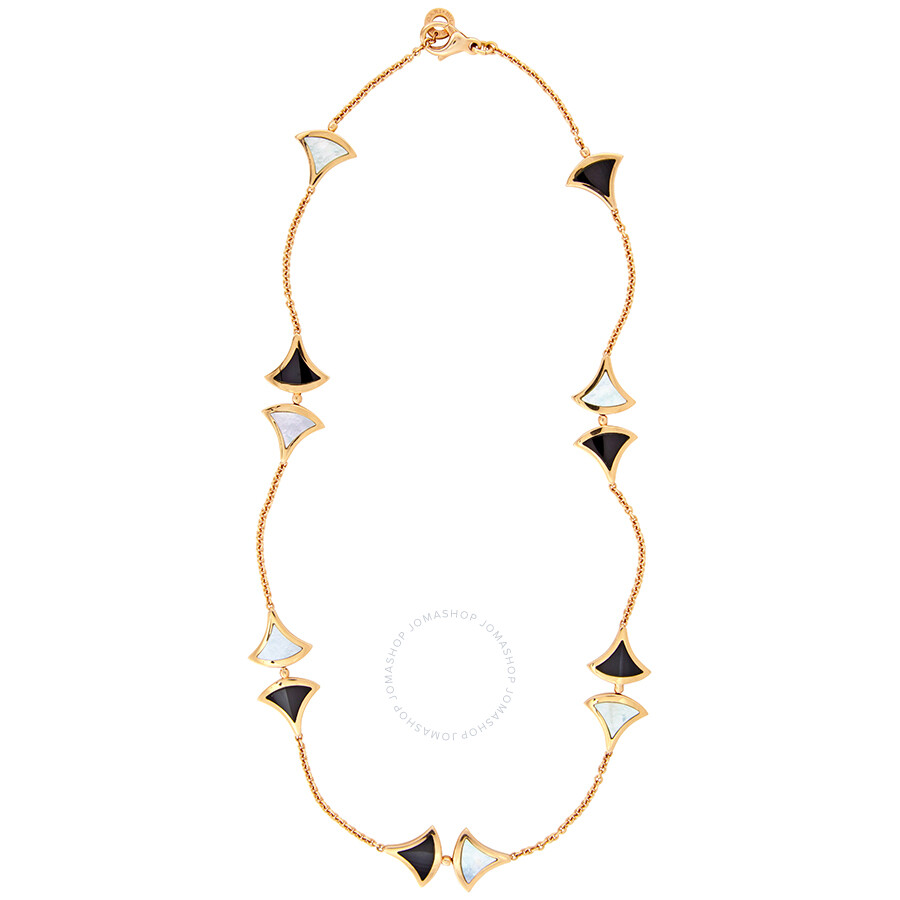 3c08b57a66 Bvlgari Divas Dream 18K Pink Gold Mother of Pearl Onyx Necklace 350075 ...