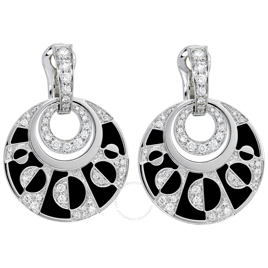 bcf8e49f8 Bvlgari Intarsio 18K White Gold Black Onyx Diamond Earrings 348725 ...