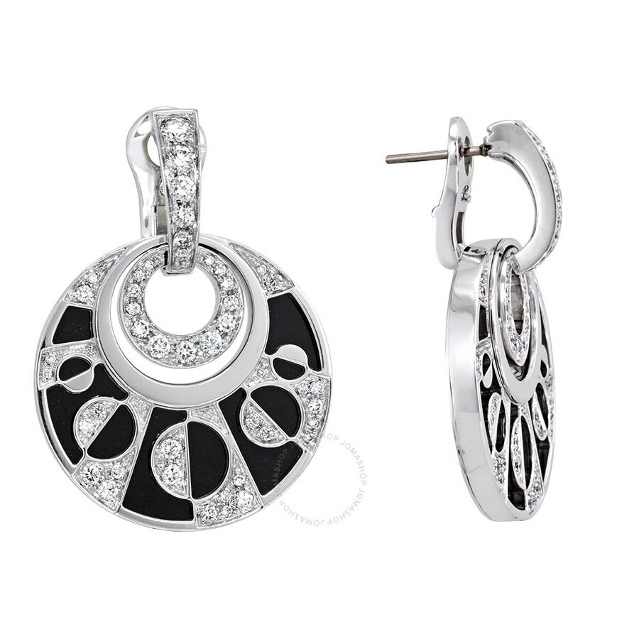 4574ca3d7 ... Bvlgari Intarsio 18K White Gold Black Onyx Diamond Earrings 348725
