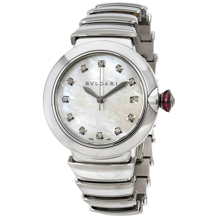 Bvlgari lvcea automatic mother of pearl diamond ladies watch 102382 lvcea bvlgari watches for Bvlgari watches