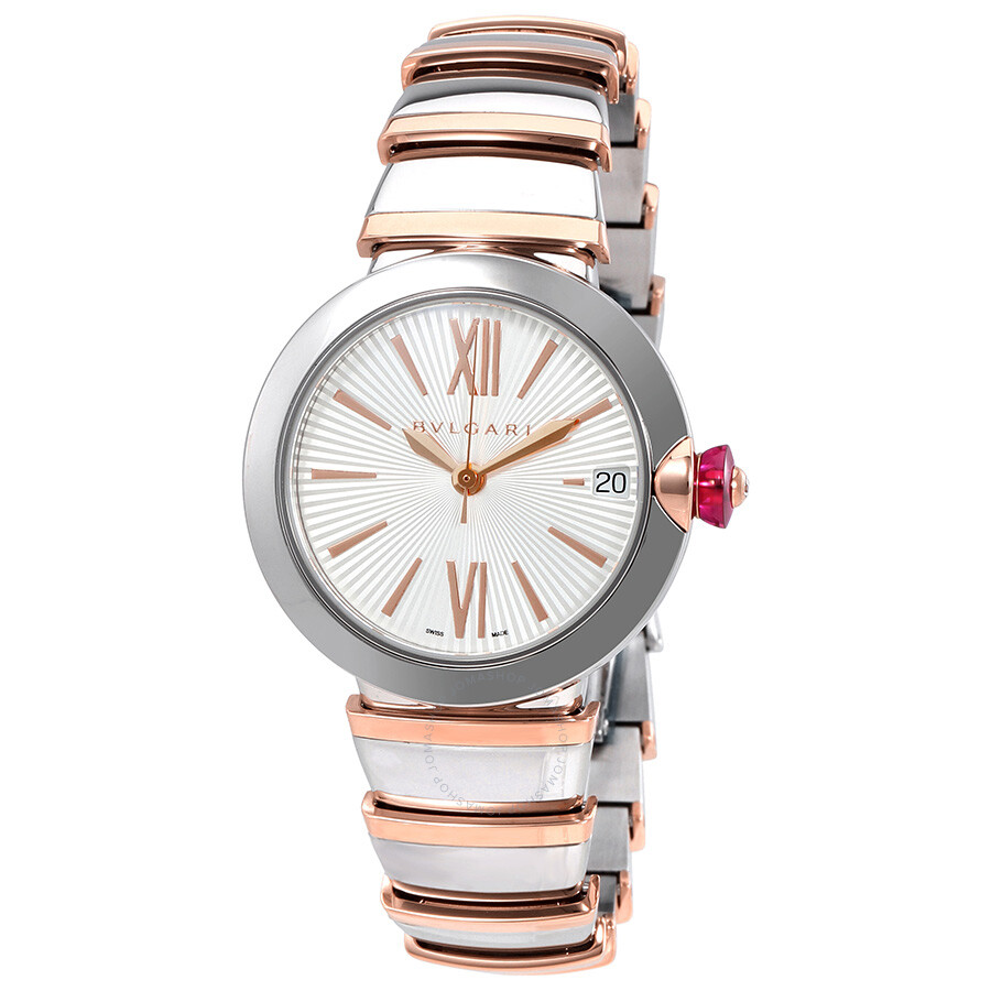 Bvlgari lvcea automatic silver opaline dial 18kt pink gold and steel ladies watch 102197 lvcea for Bvlgari watches