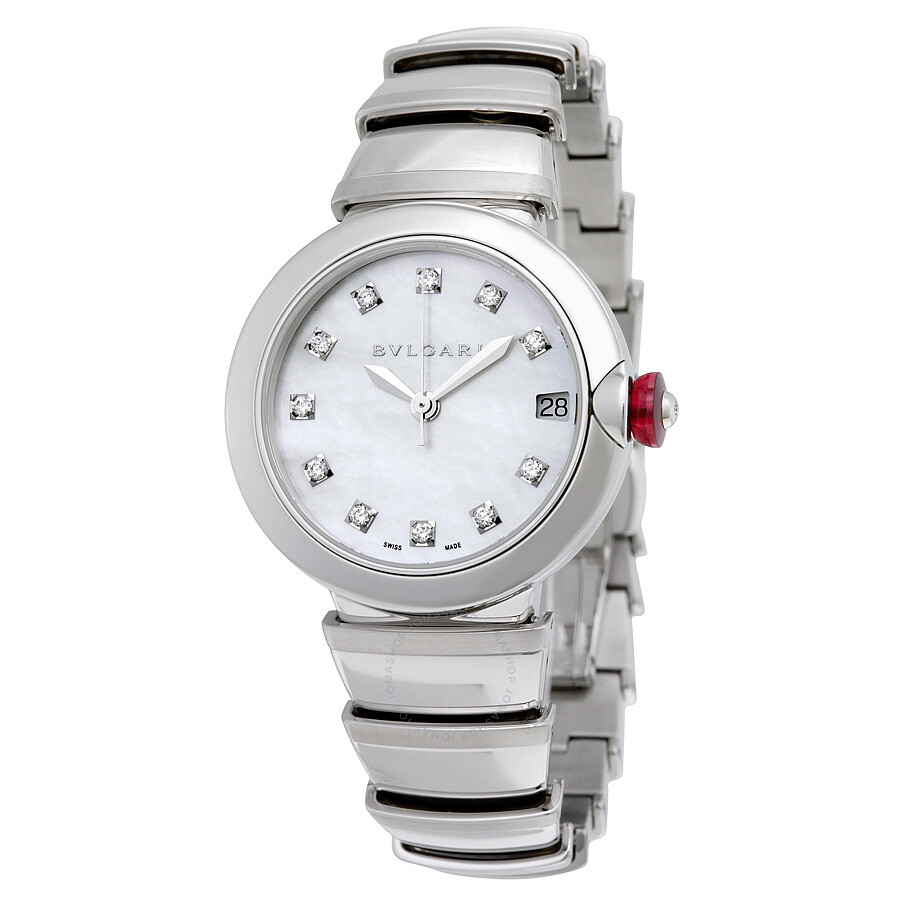 Bvlgari lvcea automatic white mother of pearl diamond dial stainless steel ladies watch 102199 for Diamond dial watch