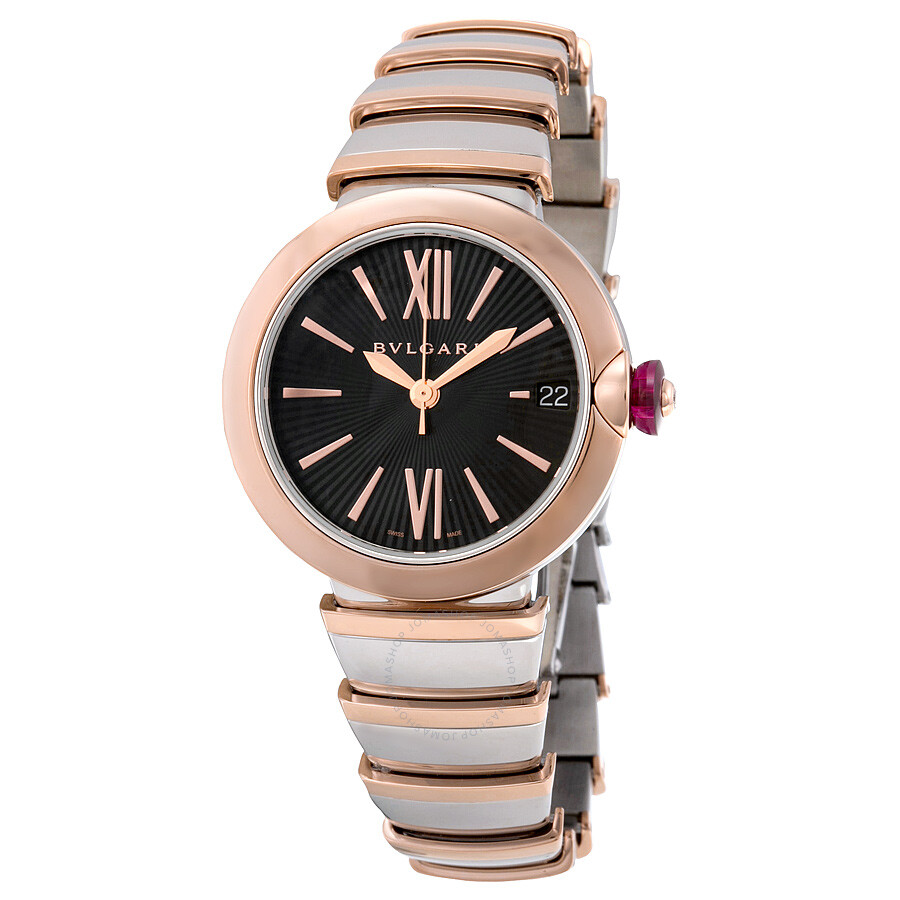 Bvlgari lvcea black opaline dial stainless steel 18kt pink gold ladies watch 102192102192 for Bvlgari watches