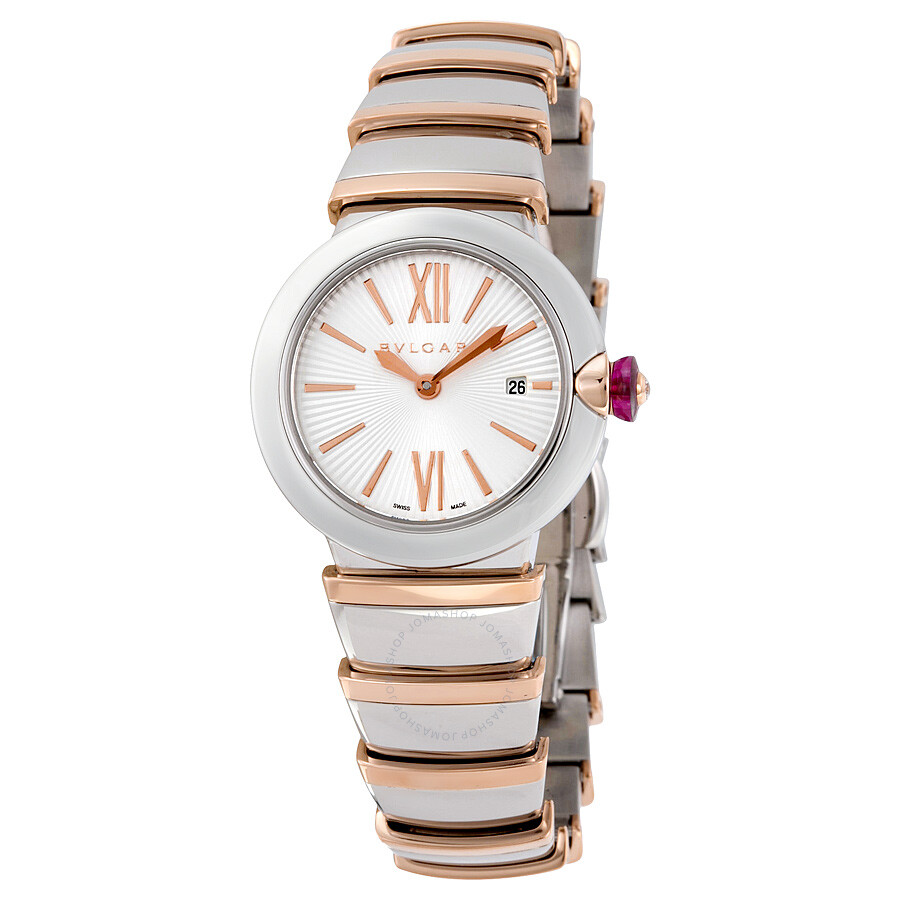 Bvlgari lvcea silver opaline dial 18kt pink gold and stainless steel ladies watch 102193 lvcea for Bvlgari watches