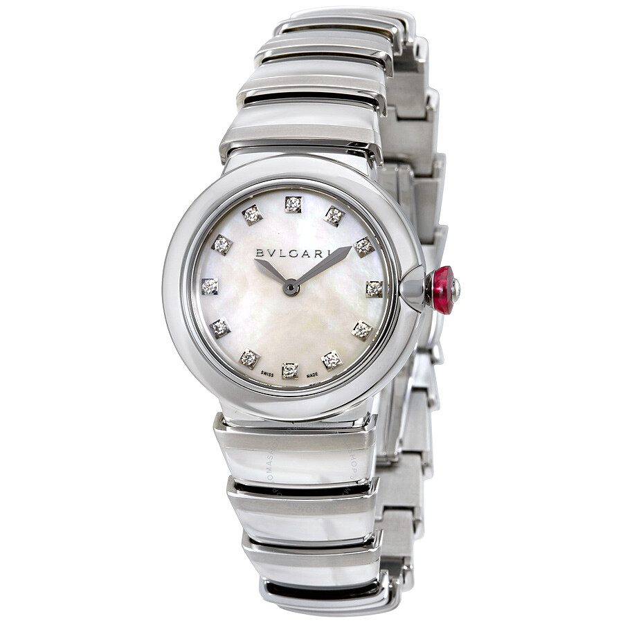 Bvlgari lvcea white mother of pearl diamond dial ladies watch 102196 lvcea bvlgari watches for Bvlgari watches
