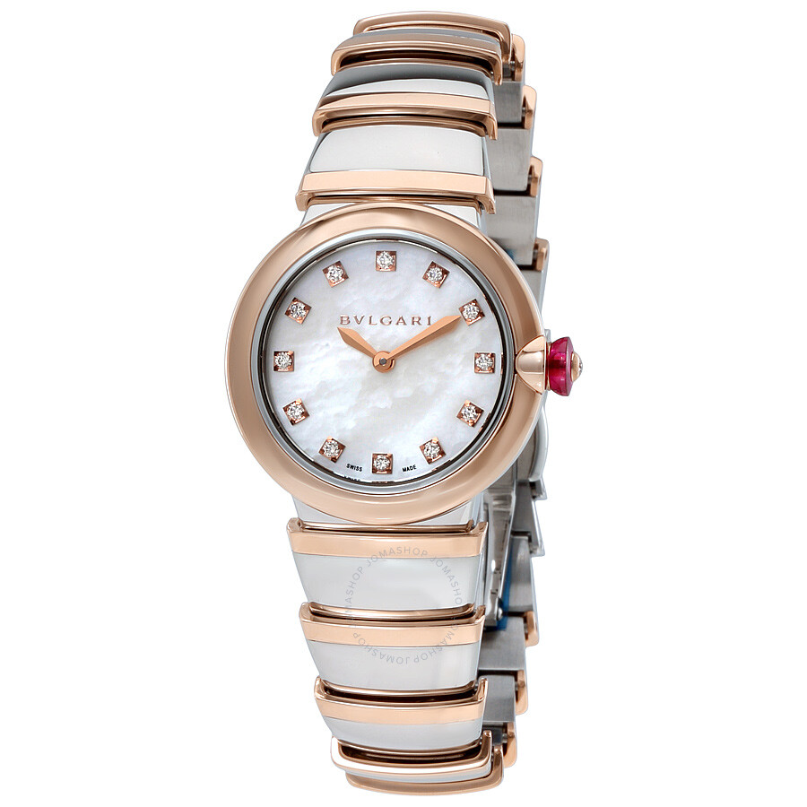 Bvlgari LVCEA White Mother of Pearl Diamond Dial Stainless Steel & 18kt  Pink Gold Ladies Watch