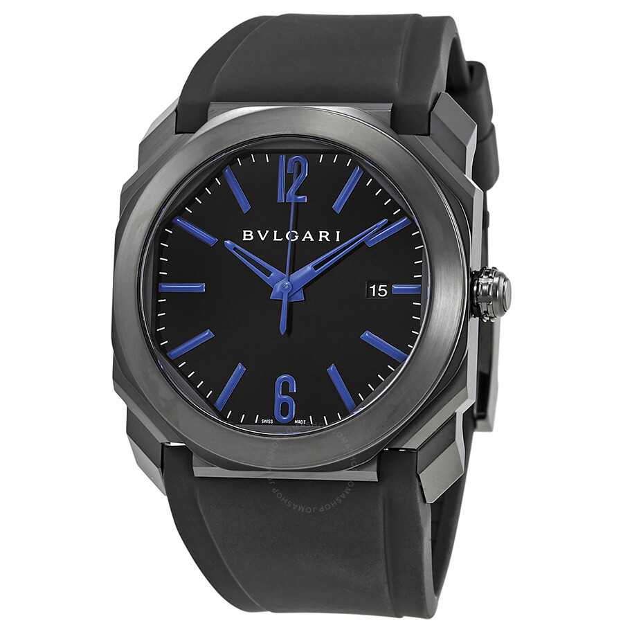 Bvlgari octo black lacquered polished dial black rubber strap men 39 s watch 102814 octo for Bvlgari watches