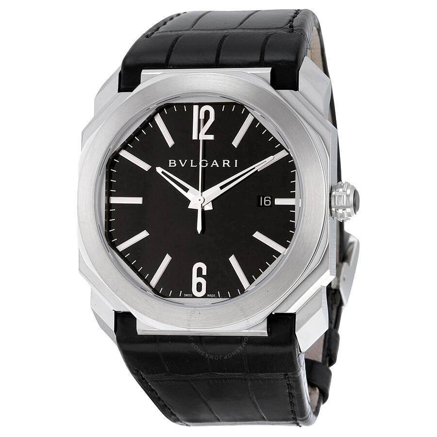 538afa478b8 Bvlgari Octo Solotempo Automatic Black Dial Black Leather Men s Watch