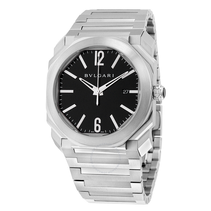 Bvlgari octo solotempo automatic black dial stainless steel men 39 s watch 102031 octo bvlgari for Bvlgari watches