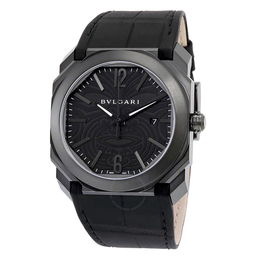 Bvlgari octo solotempo black maori tattoo patterned dial men 39 s watch 102249 octo bvlgari for Bvlgari watches