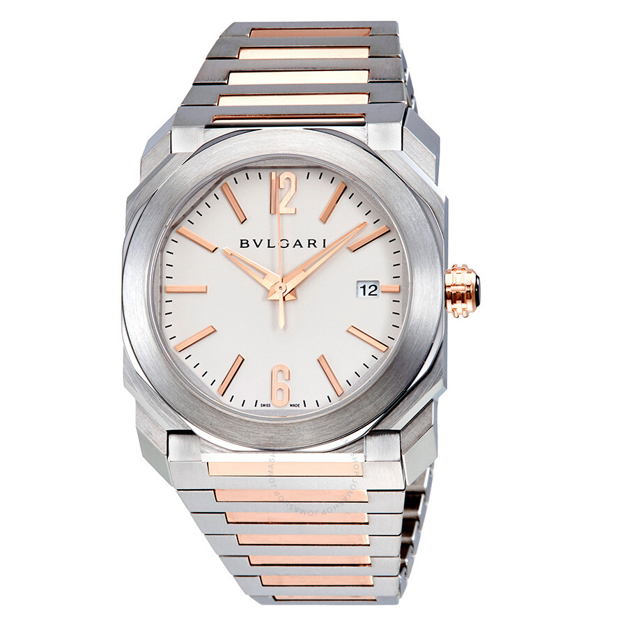 bvlgari octo solotempo silvered stainless steel and