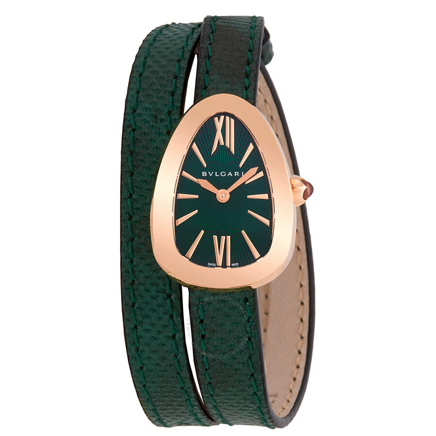 3f35c974050 Bvlgari Serpenti Green Dial Double-Twirl Leather Ladies Watch