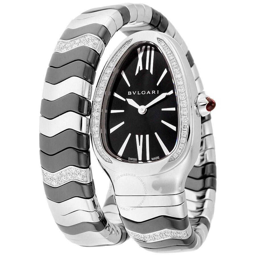 5530fe25613d9 Bvlgari Serpenti Spiga Black Lacquered Dial Quartz Ladies Watch 102129 ...
