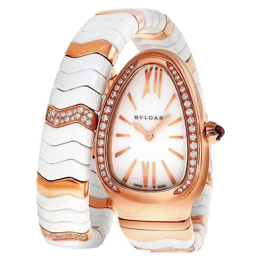765c855f6bc01 Bvlgari Serpenti Spiga White Dial Ceramic and 18K Rose Gold Ladies Watch  SPP35WGDWCG1.1T ...