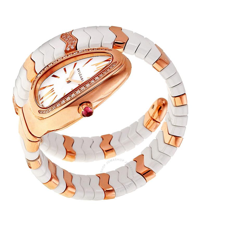 8ddff12f9c2c3 ... Bvlgari Serpenti Spiga White Dial Ceramic and 18K Rose Gold Ladies Watch  SPP35WGDWCG1.1T ...